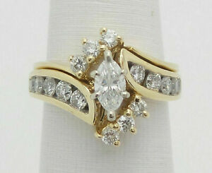 2-76Ct-Marquise-Cut-Diamond-Engagement-Wedding-Band-Ring-Solid-14K-Yellow-Gold