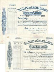 2 X Tin Areas Of Nigeria Limited, Originalsignaturen !!! Selten, Rar !!!