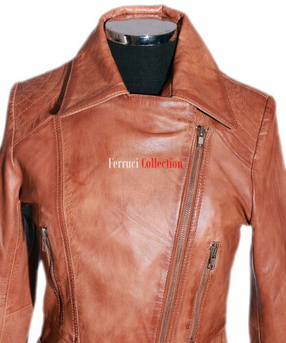 jas Dames Retro Waxed Dames ontwerper Tan Diaz lams Casual Echt leren FBOqPWvAxw