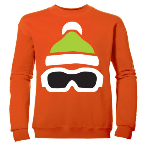 SKI GOGGLES /& HAT PRINT BOYS WINTER SKI SNOWBOARD SEASON KIDS SWEATSHIRT JUMPER