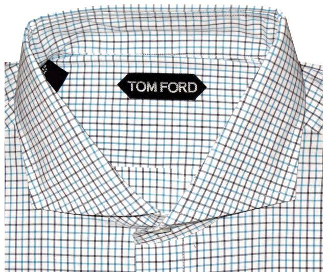 $640 NEW TOM FORD AQUA CHCK WIDE SPREAD COLLAR HAND MADE DRESS SHIRT EU 45 17.75