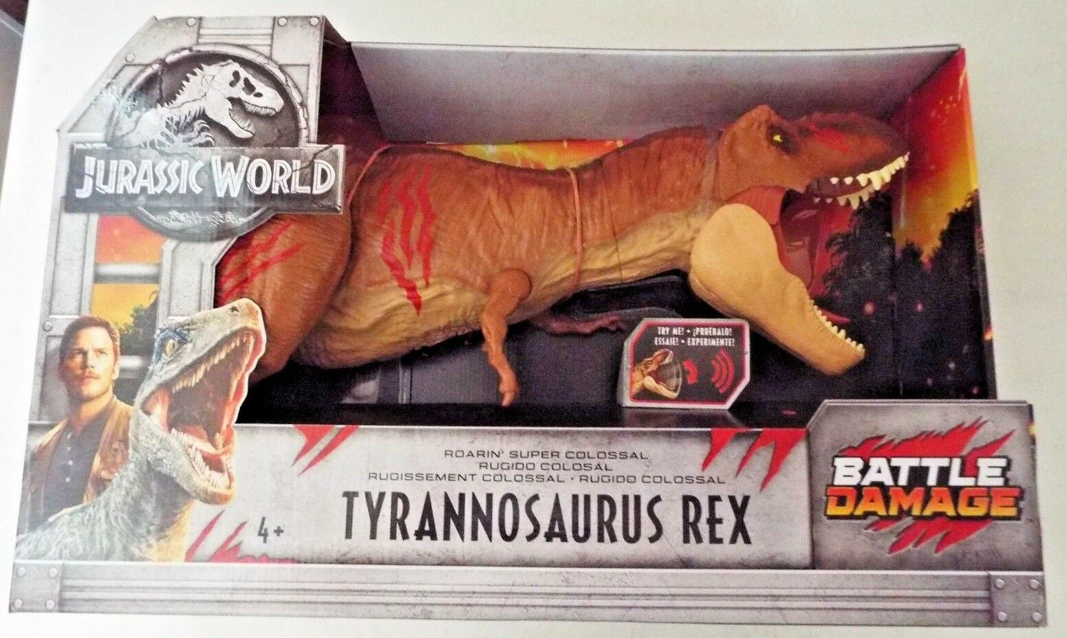 Jurassic World Roarin' Super Colossal Tyrannosaurus T Rex Battle Damage Mattel