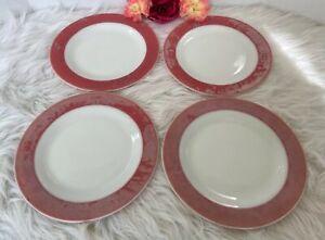 """Pyrex Dinner Plate Flamingo Pink Rimmed Set Of 4 Vintage 10"""" Read Description!"""