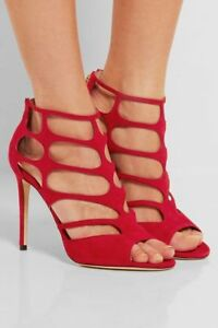 ede6ff148bb6 JIMMY CHOO REN 100 CUT OUT RED SUEDE SEXY HIGH HEEL SANDALS EU 38 I ...