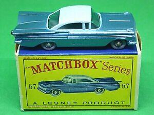 Matchbox-Lesney-No-57b-Chevrolet-Impala-en-Caja-039-D2-039-mas-raro-GPW-Negro-Placa-Base
