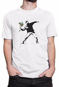 T-shirt-Uomo-034-Flower-Bomber-Banksy-034-maglietta-100-cotone-Bianco