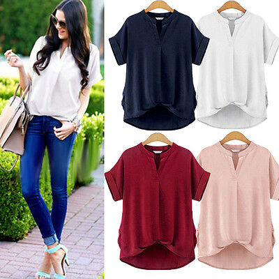 Plus Size Women Loose Casual Short Sleeve Sexy Shirt Tops Blouse Ladies Tee Top