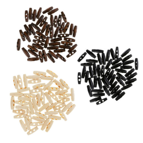 150Pcs//set 30mm Wooden Coat Toggle Horn 2 Holes DIY Sewing Knitting Buttons