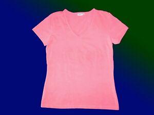 neonfarbenes-T-Shirt-Basic-Shirt-V-Ausschnitt-pink-Gr-M-neuwertig