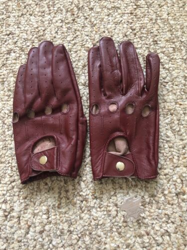 Men/'s Driving Burgundy leather Gloves  Size Medium