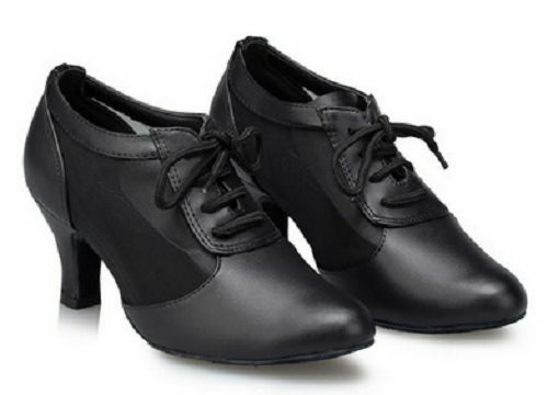 Female teachers shoes Black Genuine leather Modern dance shoes cowhide Ballroom