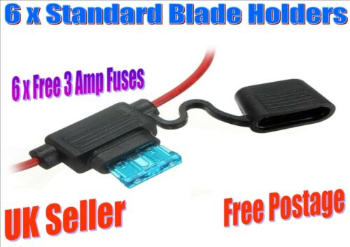 F 6 x Splash proof standard blade in line holders with 6 x 3 amp fuses
