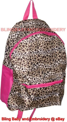 Leopard Pink Trim Full Size Backpack Embroidery Rhinestone Option