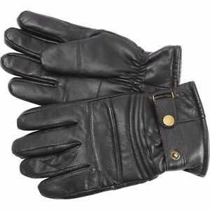 Mens Solid Genuine Goat Leather Lined Motorcycle Gloves