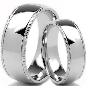 Details about His & Hers Matching Titanium Engagement Wedding Rings Sets  Polish Milgrain Edge