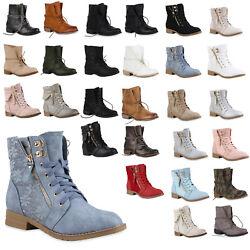 Damen Worker Boots Stiefeletten 71380 Leder-Optik Gr. 36-41 für Herbst & Winter