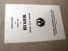 Original  RUGER 10/22 RIFLE MANUAL ORIGINAL EARLY 1969 vintage