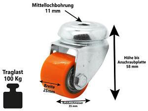 Polyurethan Rückenloch Lenkrolle Ø 35 mm extrem Kompakt Schwerlast Rolle 100 Kg