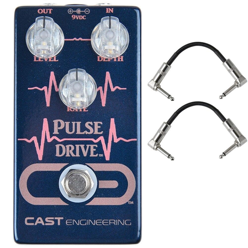 Cast Engineering Pulse Drive Tremolo Boost Guitar Effects Pedal and Patch Cables