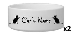 TWO-Personalised-Cat-Pet-Vinyl-Stickers-Disney-Font-15-colours-bowl-not-incl