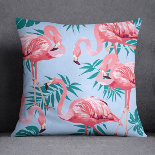 S4Sassy Light Blue Flamingo Printed ow Case Throw Square Cushion Cover