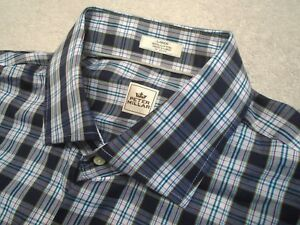 Peter-Millar-100-Cotton-Navy-Blue-Plaid-Pattern-Sport-Shirt-NWT-Large-125