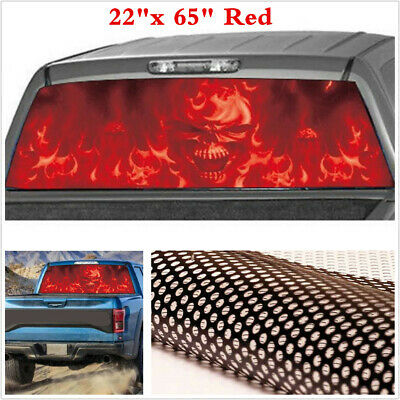 Red Window Tint >> Car Suv Truck Flaming Skull Rear Window Tint Graphic Sticker Decal Red 22 X 65 Ebay