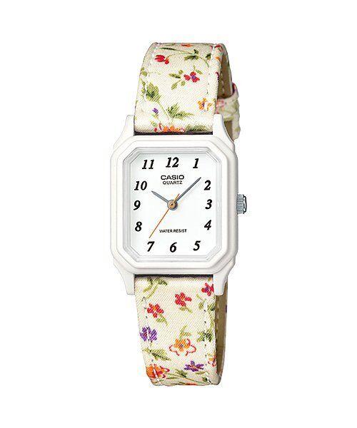 ead71380f Casio Classic Ladies Analog White Floral Cloth Band Watch Lq142lb-7b for  sale online | eBay