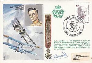 Willy Coppens 1977 60th anniv Pilot Signed Cover - High Halstow, United Kingdom - Willy Coppens 1977 60th anniv Pilot Signed Cover - High Halstow, United Kingdom
