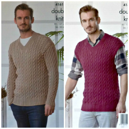 KNITTING PATTERN Mens Long Sleeve /& Sleeveless Cable Jumper DK King Cole 4161