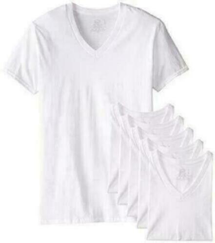 Fruit of the Loom Men's 6-Pack Stay Tucked V-Neck T-Shirt,Wh
