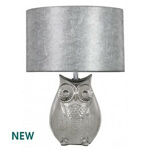Stunning quirky silver oval owl table lamp with 10 inch silver image is loading stunning quirky silver oval owl table lamp with aloadofball Image collections