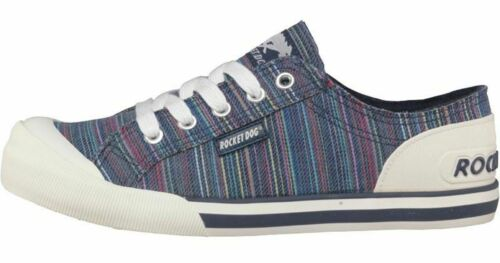 Rocket Dog Womens Girls Trainers Jazzin Navy Blue Striped Canvas Shoes in Size 3