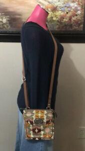 Fossil-Key-Per-Shoulder-Crossbody-Bag-Purse-Multi-Color-SHINY-Vinyl-Leather-Trim