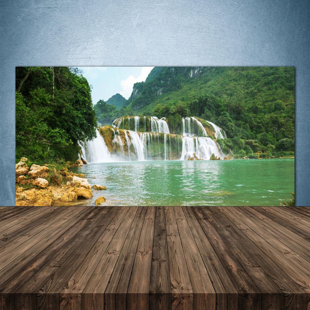 Crédence de cuisine en verre Panneau 140x70 Paysage Forêt Chute D'eau