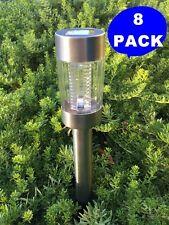 8-Pack Solar Powered Large Stainless Steel White LED Garden Path Light SENSOR