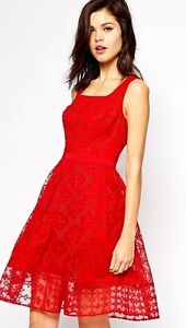 486b21eb51 New Karen Millen red embroidered full skirt skater dress DT224 UK 12 ...