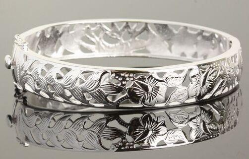 Hawaiano Hawaiano Hawaiano argentoo Sterling 925 Ibisco Fiori Braccialetto Aperto Gancetto B2141 d22787