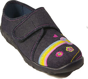 harmonische Farben neue Stile große Auswahl Details zu SUPERFIT Schuhe Hausschuhe jeans blau Schmetterling Textil  Klettverschluss NEU
