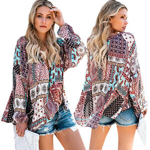 Women-039-s-V-Neck-Gypsy-Floral-Long-Sleeve-Tops-Blouse-Casual-Loose-Tunic-Shirts