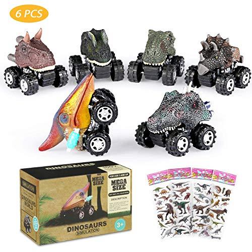 6 PZ realistico Dinosauro giocattolo auto con BIG TIRE Joylink Pull Back Dinosauro auto