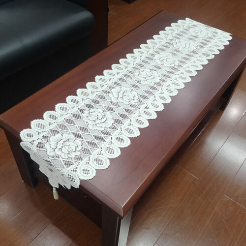 Vintage White Lace Table Runner Dresser Scarf Oval Doilies Wedding Decoration