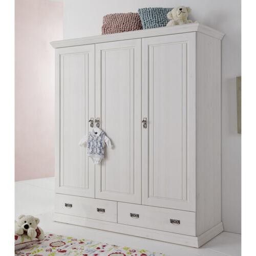 Kleiderschrank Odette Schrank Drehtürenschrank in Kiefer weiß massiv Babyzimmer