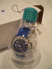 Allen Lyle Silver Tone Blue Face Silicone Band Swarovski Crystal Bezel Watch