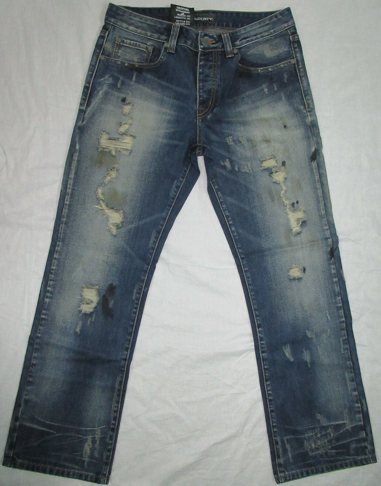 RAW & DIRTY DISTRESSED STRAIGHT FIT JEANS SIZE 32