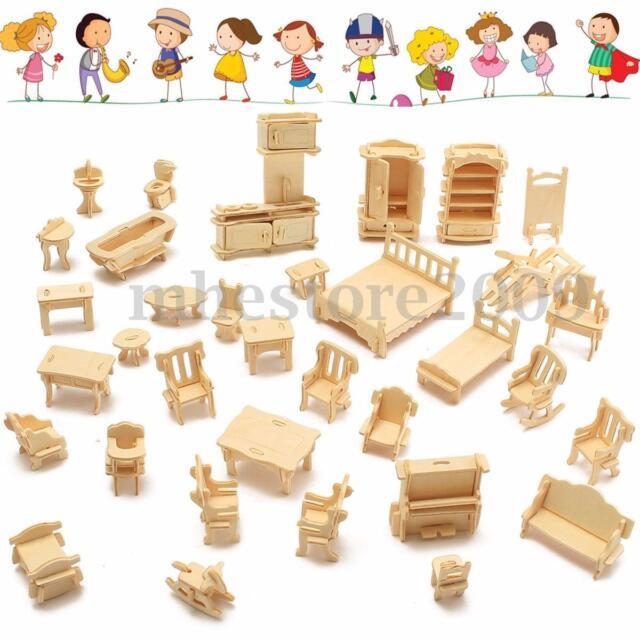 34Pcs 3D DIY Wooden Miniature Dollhouse Furniture Model Kids Play Toys Xmas Gift