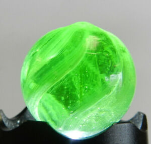 #12931m Large .83 Inches Vintage German Handmade Green Glass Swirl Marble