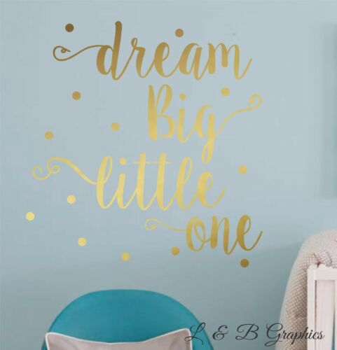 Dream Big Little One-Vinyl Wall Decal-Nursery Decor Girl or Boy Bedroom Decor