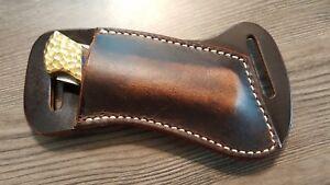 Cross Draw Buffalo leather knife sheath Dark oil rustic. fits a Buck 110 or sim