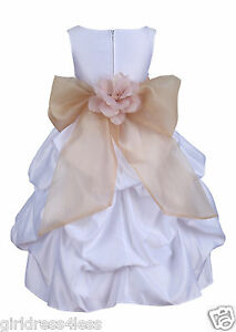 US Seller New White Pickup Wedding Flower Girl Dress Pageant Dance Party Gown